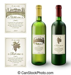 Wine Labels Set - Wine realistic bottles and paper sticky...