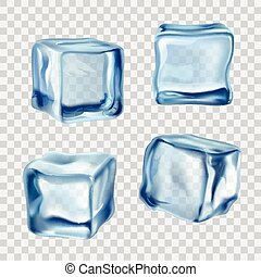 Ice Cubes Blue Transparent - Realistic blue solid ice cubes...