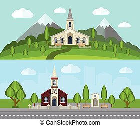 Church Flat Banner Set - Church buildings in countryside...