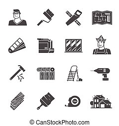 Renovation Icons Set - Renovation black icons set with...