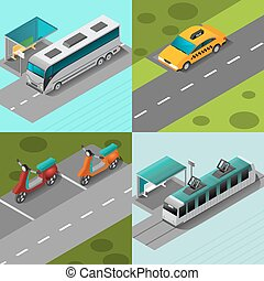 Public Transport Set - Public transport design concept set...