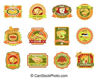 Mexican Food Emblem Set - Mexican traditional food cafe...