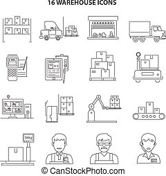 Warehouse Icons Outline