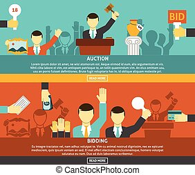 Auction And Bidding Banners Set - Auction and bidding...