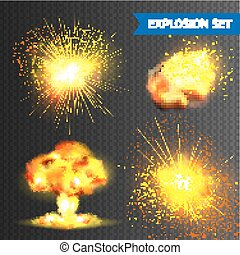 Realistic Explosions Set - Realistic bomb or fireworks...