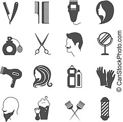 Hairdresser Icons Set - Hairdresser and beauty salon black...