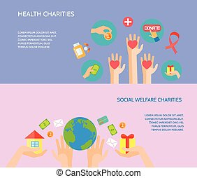 Giving hands 2 horizontal flat banners - Health and social...