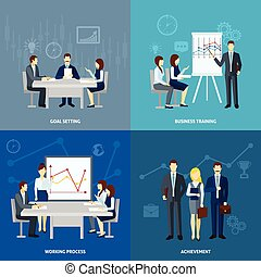 Business coaching 4 flat icons square
