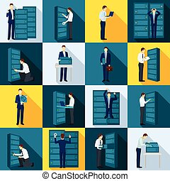 Datacenter Flat Icons Set - Datacenter flat icons set with...