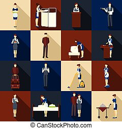 Hotel Staff Set - Hotel staff icons set with waiter...