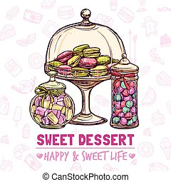 Candy Shop Poster - Candy shop poster with sweets cookies...