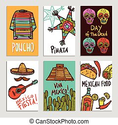 Mexico Poster Set - Mexico poster set with hand drawn poncho...