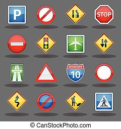 Road traffic signs glossy icons set - Basic road traffic...
