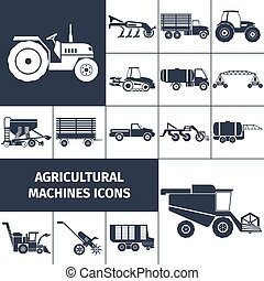 Agricultural Machinery Black White Icons Set - Agricultural...
