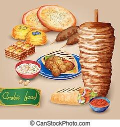 Arabic Food Set - Arabic food set with shawarma kebab hummus...