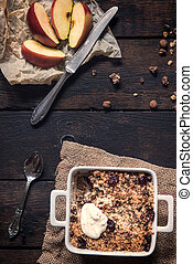 Apple crumble - Homemade sweet apple crumble cake from above...