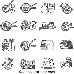 Home cooking black icons set - Healthy home cooking concept...