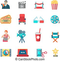 Filmmaking Icons Set - Filmmaking and production icons set...