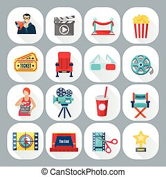 Film Shooting Icons Set - Film shooting icons set with...