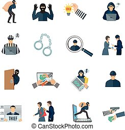 Theft Icons Set - Theft and thief icons set with laptop...