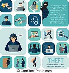 Stealing Icons Set - Stealing and theft icons set with...