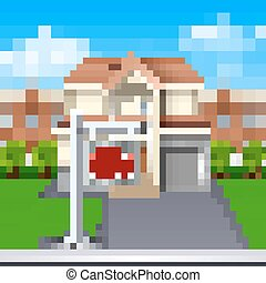 House For Sale Illustration - House for sale with lawn and...
