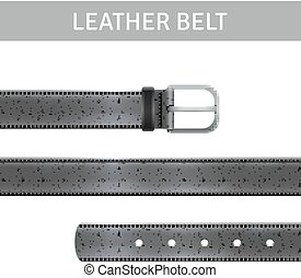 Leather Belt Set - Black leather belt with buckle and title...