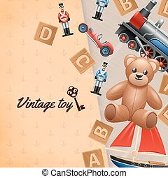 Vintage Toys Background - Vintage toys realistic background...