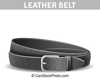Leather Belt Illustration - Black realistic curled leather...