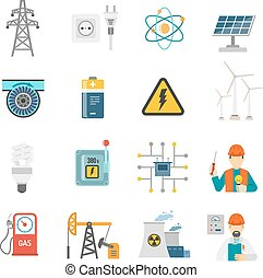 Energy power flat icons set - Wind solar and nuclear energy...