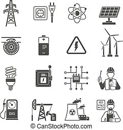 Energy power black icons set - Oil and gas industry energy...