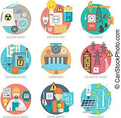 Energy flat icons composition set - Energy concept flat...