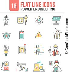Energy power line icons set - Power transmission high...
