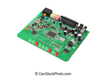 Circuit board - Printed green circuit board from dial-up...