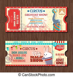 Circus show two vintage tickets set - Circus big magic show...