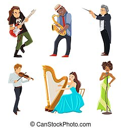 Musicians flat icons set - Musicians playing harp violin...