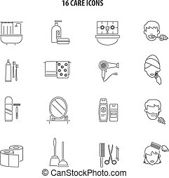 Personal care products icons set line
