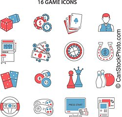 Game Line Icons Set - Game and gambling line icons set with...