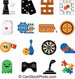Gambling casino games flat icons set - Traditional and...