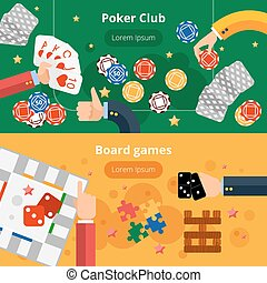 Gambling games flat banners set - Online poker club and...