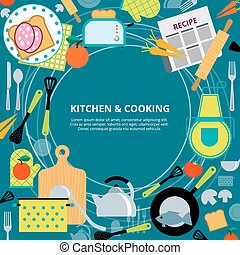 Kitchen home cooking concept poster - Home healthy and fast...