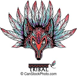 Doodle Wolf Mask Colored - Doodle colored wolf tribal ritual...