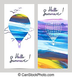 Air Travel Banners - Air travel vertical banners set with...
