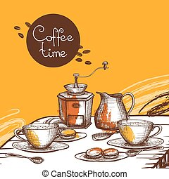 Coffee time background poster - Coffee time with cup of...