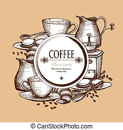 Coffee set vintage style composition poster - Traditional...