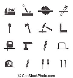 Carpentry tools black icons set - Carpentry tools for wooden...