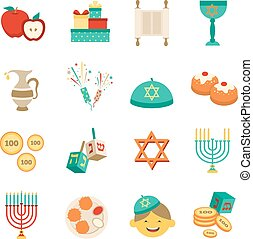 Symbols Of Hanukkah Icons Set - Various symbols and items of...