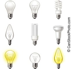Various types realistic lightbulbs set - Low energy...