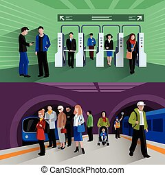 Subway passengers 2 flat banners composition - Subway...