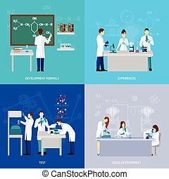 Scientists Flat Set - Scientists design concept set with...